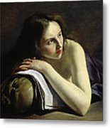 Penitent Magdalen Oil On Canvas Metal Print