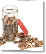 Pennies And Jar On White Background Metal Print