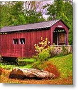 Pennsylvania Country Roads - Everhart Covered Bridge At Fort Hunter - Harrisburg Dauphin County Metal Print