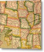 Pennsylvania Railroad Map 1879 Metal Print