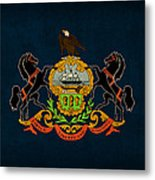 Pennsylvania State Flag Art On Worn Canvas Metal Print by Design Turnpike