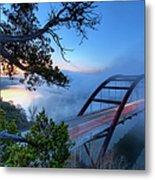 Pennybacker Bridge In Morning Fog Metal Print