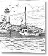 Peggy's Cove Lighthouse Nova Scotia Metal Print