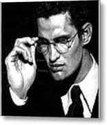 Pensive Man With Glasses Metal Print