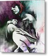 Pensive With Texture Metal Print