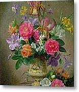 Peonies And Irises In A Ceramic Vase Metal Print