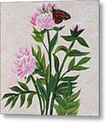 Peonies And Monarch Butterfly Metal Print