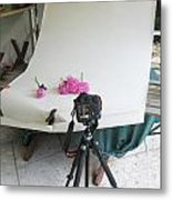 Peonies And Tripod Metal Print