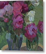 Peonies In The Shade Metal Print