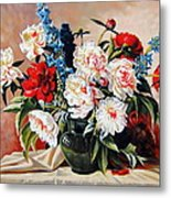 Peonies In Vase Metal Print