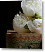 Peony Flowers On Old Hat Box Metal Print