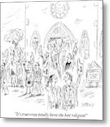 People Are Seen Exiting Church With Giant #1 Foam Metal Print