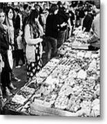 people buying chocolates on display inside the la boqueria market in Barcelona Catalonia Spain Metal Print