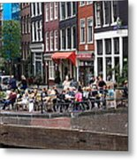 People By The Canal Metal Print