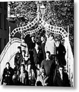 People Crossing The Hapenny Ha Penny Bridge Over The River Liffey In Dublin At A Busy Time Metal Print