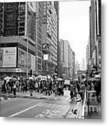 People Crossing The Street On A Rainy Day In Mong Kok Hong Kong Metal Print
