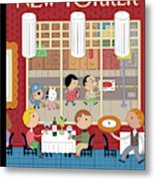 People Enjoying Dinner In The City Metal Print
