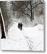 People On Ski  In Snowy Landscape Metal Print