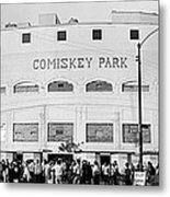 People Outside A Baseball Park, Old Metal Print
