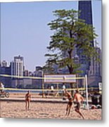 People Playing Beach Volleyball Metal Print