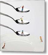 People Playing Golf On Spoons Little People On Food Metal Print