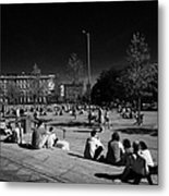 people sitting enjoying the sunshine Eyre Square in the heart of Galway city county Galway Republic of Ireland Metal Print