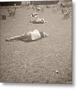 People Sleeping In The Park Metal Print by Beverly Brown
