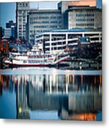 Peoria Illinois Cityscape And Riverboat Metal Print