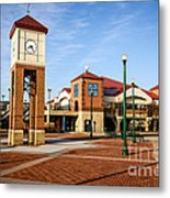 Peoria Illinois Riverfront Businesses And Clock Tower Metal Print