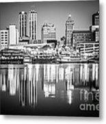 Peoria Illinois Skyline At Night In Black And White Metal Print