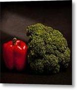 Pepper Nd Brocoli Metal Print by Peter Tellone