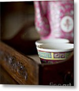 Peranakan Tea Set Metal Print