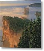 Perce Rock And The Three Sisters In Fog Metal Print