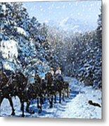 Percheron Team In Snow Metal Print by Ric Soulen
