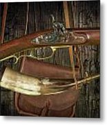 Percussion Cap And Ball Rifle With Powder Horn And Possibles Bag Metal Print