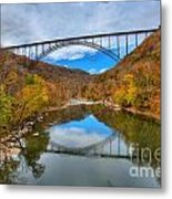 Perfect Reflections Of The New River Gorge Bridge Metal Print