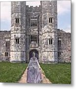 Period Lady In Front Of A Castle Metal Print