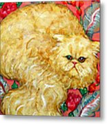 Persian Cat On A Cushion Metal Print