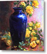 Persian Cobalt - Yellow Roses In Cobalt Vase Metal Print