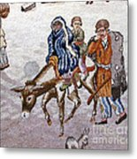 persian lady on horse with her baby              Close up photos by myself of Persian antique carpet Metal Print