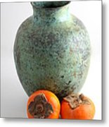 Persimmon With Vase Metal Print