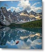 Person In Canoe On Moraine Lake, Banff Metal Print