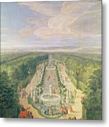 Perspective View Of The Grove From The Galerie Des Antiques At Versailles, 1688 Oil On Canvas Metal Print