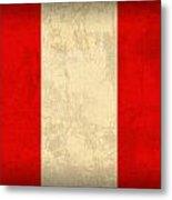 Peru Flag Vintage Distressed Finish Metal Print