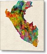 Peru Watercolor Map Metal Print