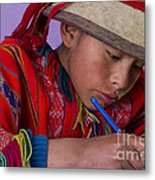 Peru Writing Lesson In Huilloc Primary School Peru Metal Print