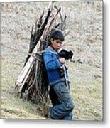 Peruvian Boy Gathers Wood Metal Print