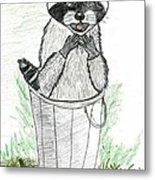 Pesky Raccoon Metal Print