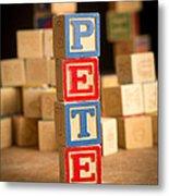 Pete - Alphabet Blocks Metal Print