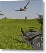 Peteinosaurus Reptiles On The Shore Metal Print